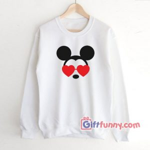 Mickey Heart Shades Valentines Disney Sweatshirt - Disney Sweatshirt
