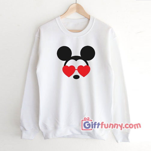 Mickey Heart Shades Valentines Disney Sweatshirt – Disney Sweatshirt