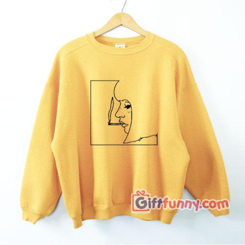 Smoking Girl Art Sweatshirt – Funny's Sweatshirt On Sale – Funny's Sweatshirt