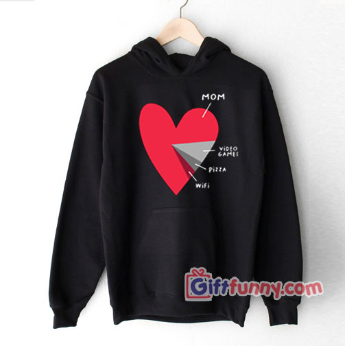 Funny Heart Mom Video Games Pizza Wifi Valentines Day Hoodie – Funny Hoodie – Valentin gift Hoodie