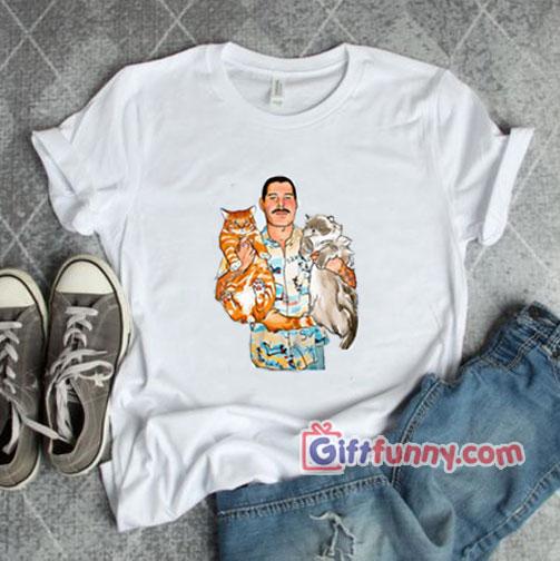 Freddie Mercury white cat shirt – Freddie Mercury Shirt – Funny Gift – Funny Coolest Shirt