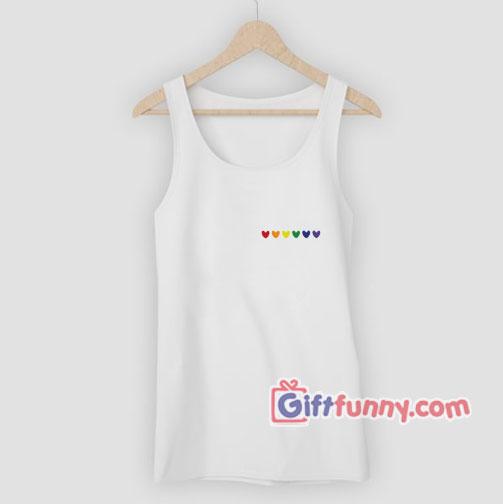 Rainbow Heart Tank Top – Love LGBT Tank Top –  gay Tank Top Lesbian Tank Top- Funny Coolest Tank Top – Funny Gift